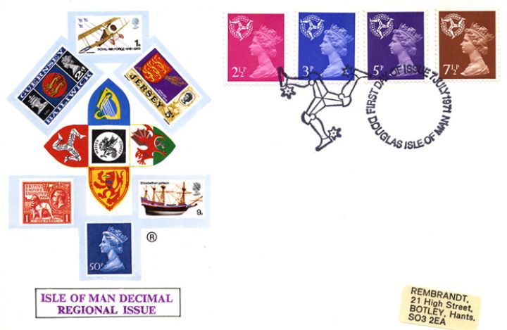 Isle of Man 2 1/2p, 3p, 5p, 7 1/2p, Regional Coats of Arms & Stamps