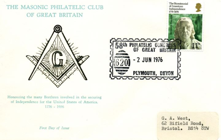 USA Bicentenary: 11p, Masonic Philatelic Club