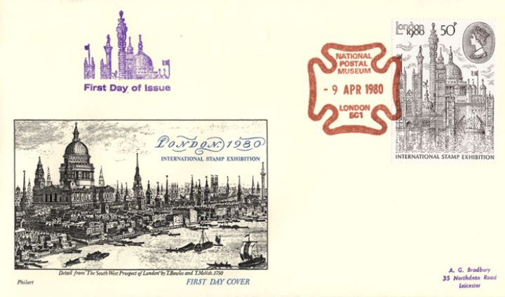 London 1980: 50p Stamp, London Engraving from 1750