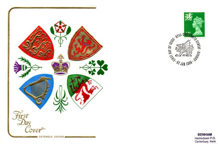 Wales 12p Bright Green, Regional Coats of Arms & Emblems