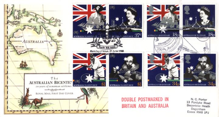 Australian Bicentenary, Early Map of Australia - Double dated covers