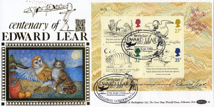 Edward Lear: Miniature Sheet, The Owl and the Pussycat
