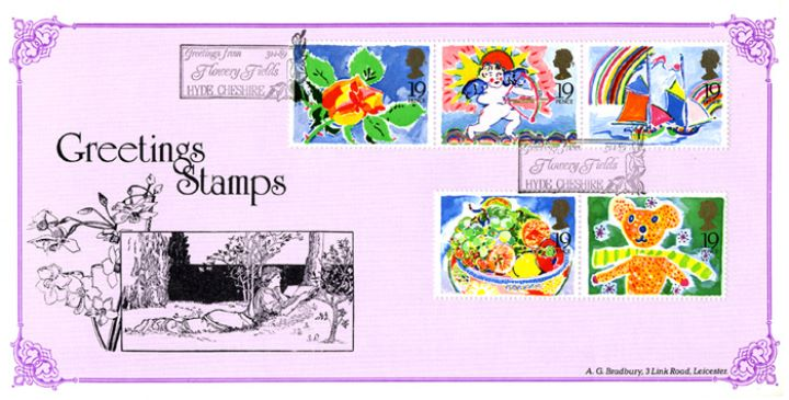 Greetings Stamps, Girl reading book