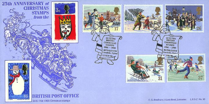 Christmas 1990, 25th Anniv of Christmas Stamps