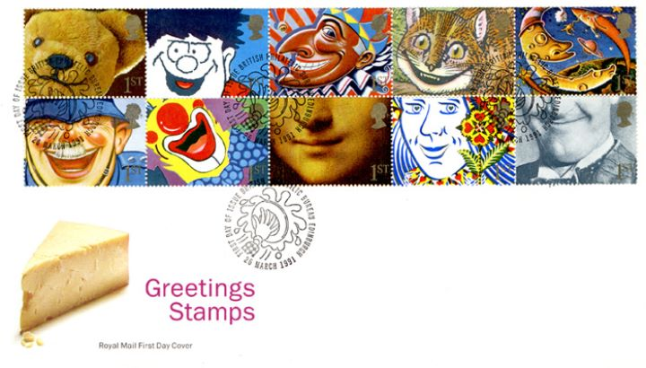 Smiles 1st Class (Greetings), Cheese - special handstamps