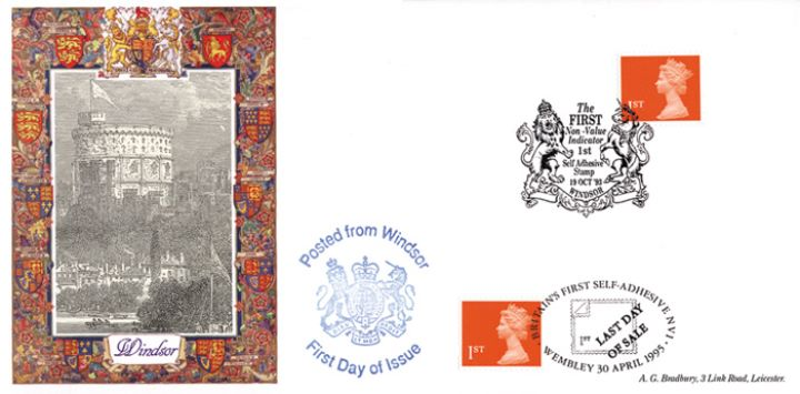 Machins (EP): Self Adhesive Definitive: 1st Flame, Britain's first self adhesive stamp