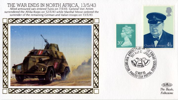 The War Ends in North Africa, Allied Armoured cars entered Tunis
