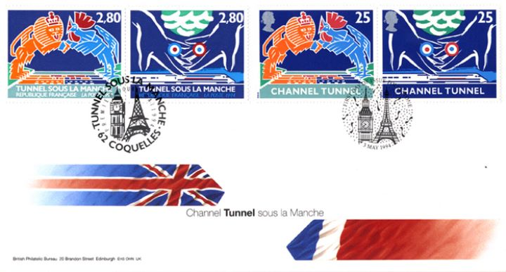 Channel Tunnel, Flags of France and UK