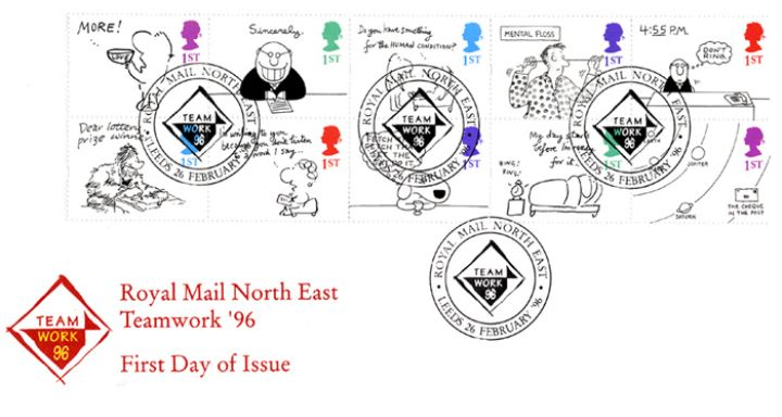 Cartoons greetings first day cover bfdc buy now 60 cartoons greetings royal mail north east teamwork m4hsunfo