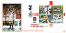 19.12.2003 Rugby World Cup: Miniature Sheet Martin Johnson holding World Cup Bradbury, Sovereign No.44