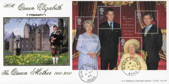 Queen Mother: Miniature Sheet, Glamis Castle (piper)