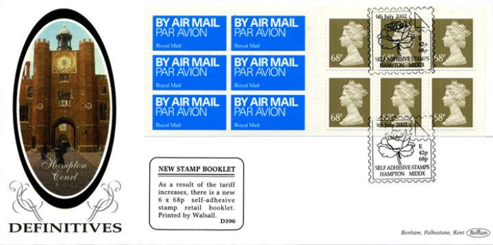 Self Adhesive: Airmail: 6 x 68p, Hampton Court