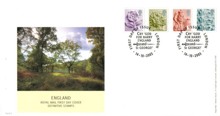 England (white borders) 2nd, 1st, E, 68p, Rural England