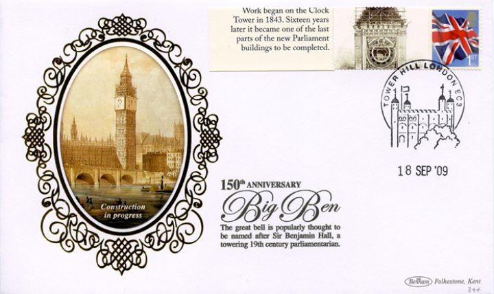 Big Ben [Commemorative Sheet], Construction in progress
