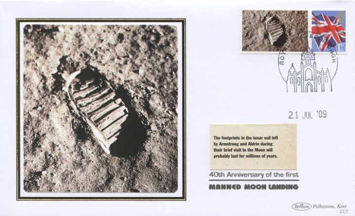 Moon Landing [Commemorative Sheet], Footprint in lunar soil