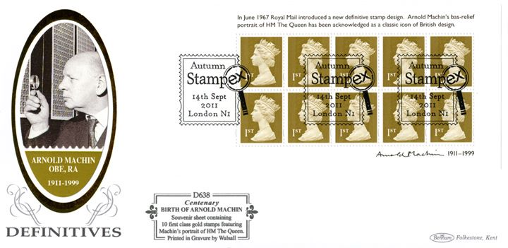 Arnold Machin: Miniature Sheet, Machin examines the stamps