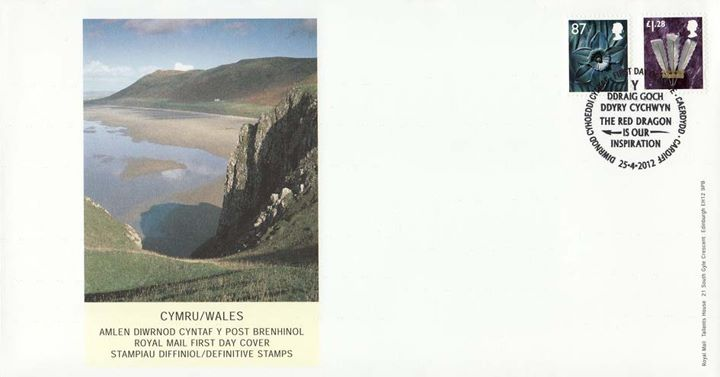 Wales 87p, £1.28, Cliffs and Beach