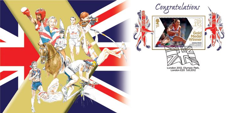 Athletics - Woman's Heptathlon: Olympic Gold Medal 12: Miniature Sheet, Jessica Ennis
