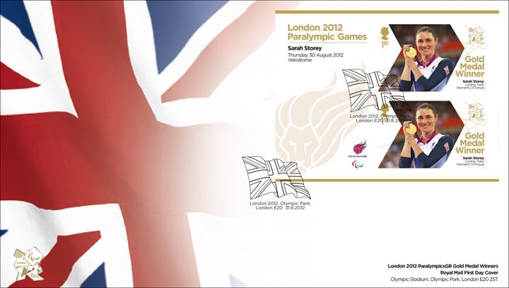Cycling - Women's Individual C5 Pursuit: Paralympic Gold Medal 1: Miniature Sheet, Union Flag