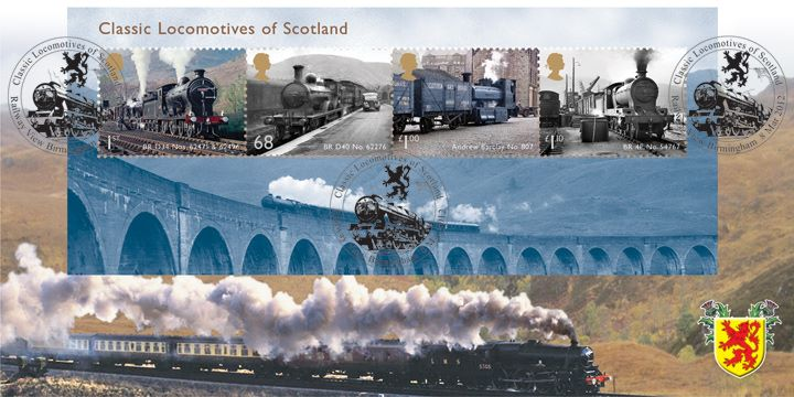 Classic Locomotives: Series No.2: Miniature Sheet, LMS loco steams through Scottish hills