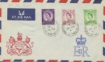 Wildings: 3d, 6d, 7d Airmail cover with Coat of Arms