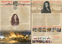 02.09.2016 The Great Fire of London Charles II & Samuel Pepys Bradbury, Commemorative Stamp Card No.25