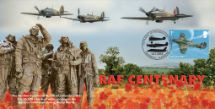 10.07.2018 Centenary of the RAF Statue of RAF Airmen Bradbury, BFDC No.505