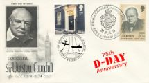 06.06.2019 D-Day Winston Churchill Centenary Parliament double dated cover Artcraft