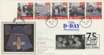 06.06.2019 D-Day 50th/75th Anniversaries Double Dated Pres. Philatelic Services, Sotheby Silk No.96