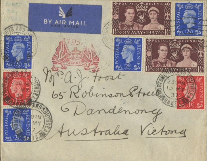 King George VI Coronation, Cornation and Definitives on the one cover