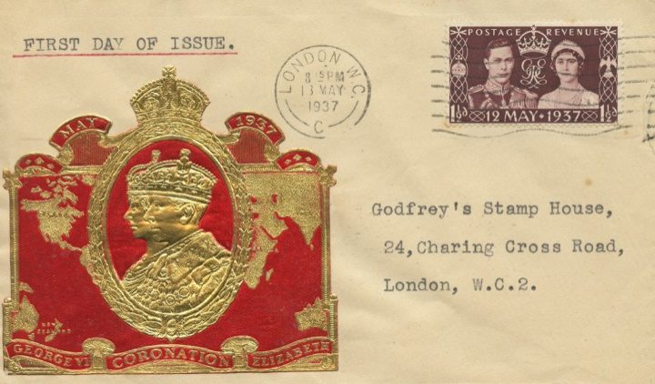 King George VI Coronation, Gold foiled image of King & Queen