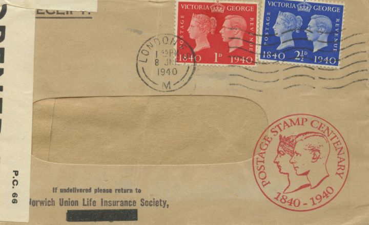 Postage Stamp Centenary, Opened by Censor