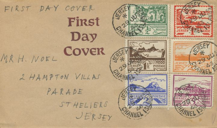 Jersey 2 1/2d & 3d (Views), All six stamps on the one envelope