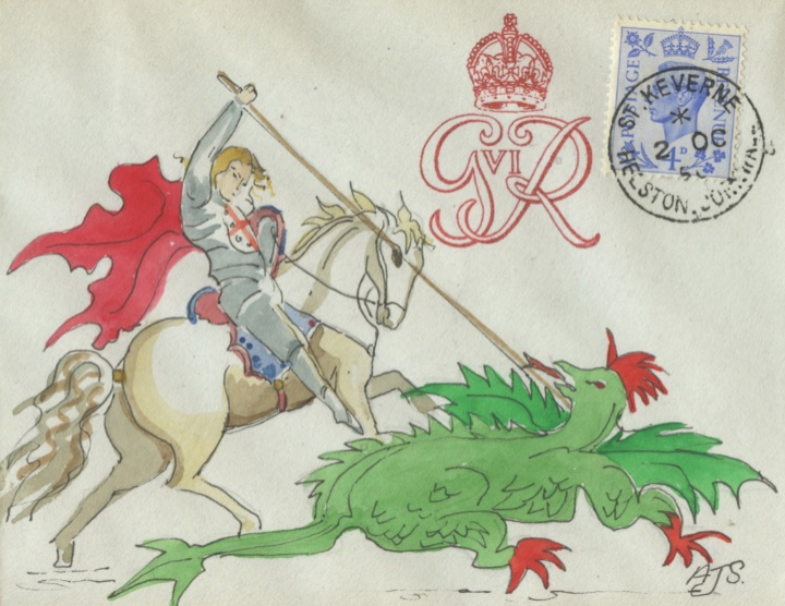 KGVI: 4d Light Ultramarine, St George and the Dragon