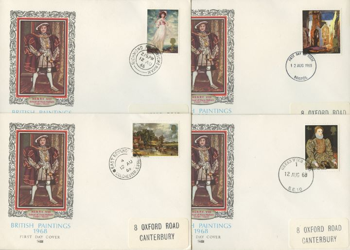 British Paintings 1968, Set of Four Appropriate CDS Postmarks