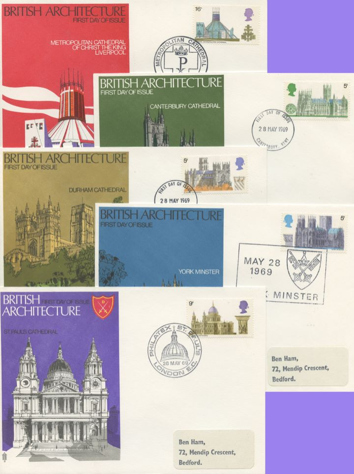 British Cathedrals, Set of 5 covers