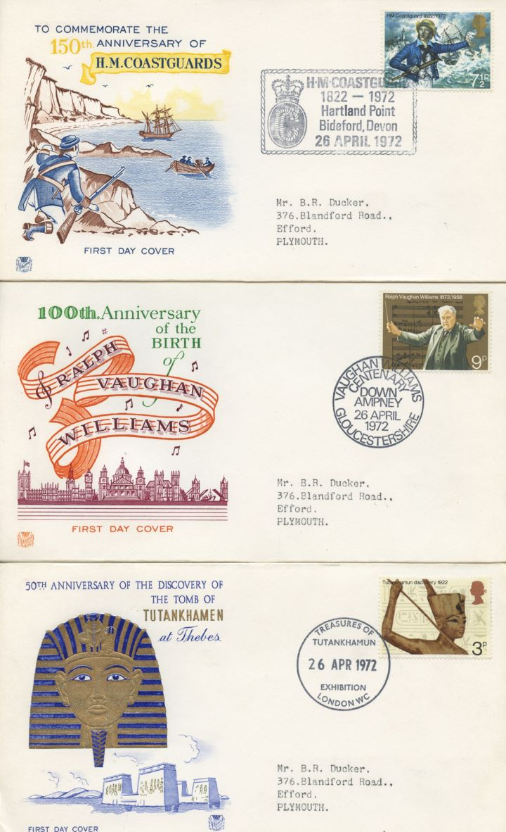 General Anniversaries 1972, Set of Three Appropriate Postmarks