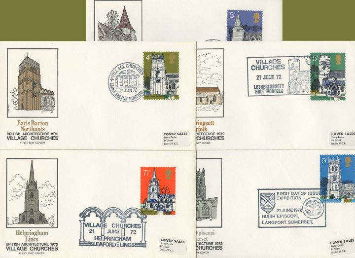 Village Churches, Set of Five Appropriate Postmarks