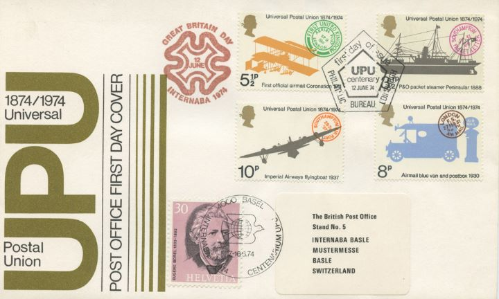 Universal Postal Union, Double postmarked in Basle