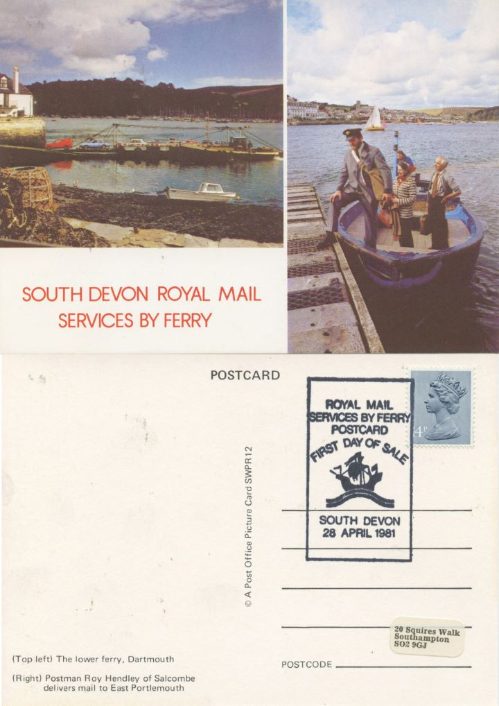 South Devon Royal Mail, Services by Ferry