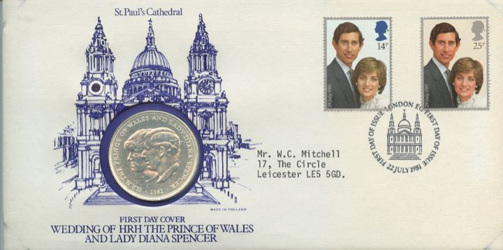 Royal Wedding 1981, St Pauls Coin Cover