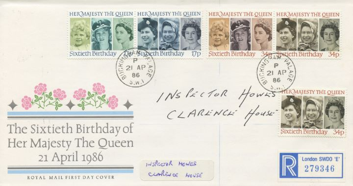 Queen's 60th Birthday, Buckingham Palace postmark