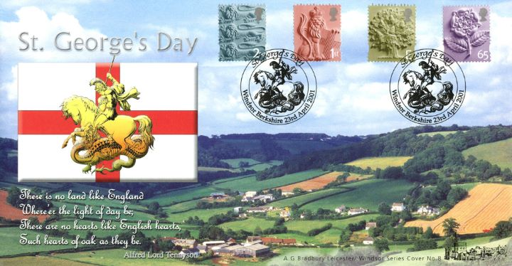 England 2nd, 1st, E, 65p, St. George's Day