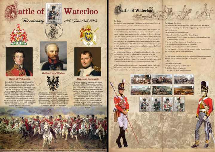 Battle of Waterloo: Miniature Sheet, Wellington, Blucher and Bonaparte