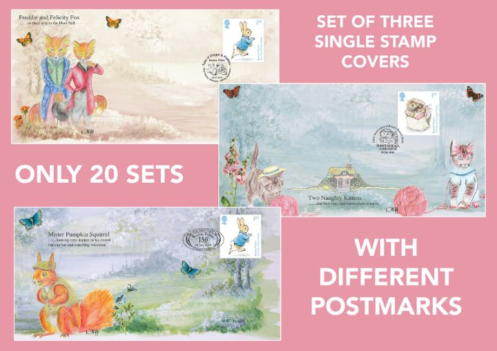 Beatrix Potter, Three Alternative Postmarks - Single Stamp Covers