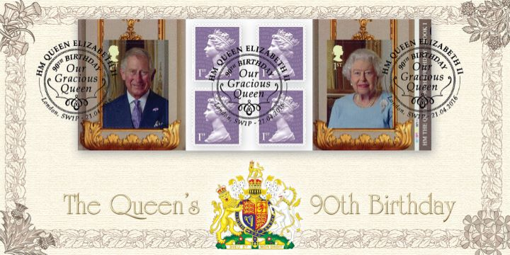 Self Adhesive: H M The Queen's 90th Birthday, Retail Stamp Book - Country Emblems