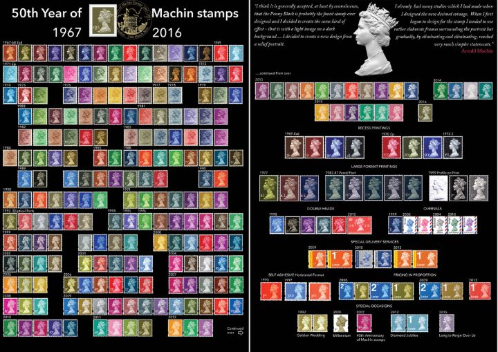 Machins (EP): £1.05 Gooseberry Green (Self Ad), 50th Year of Machin Stamps