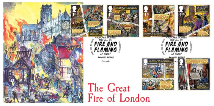 The Great Fire of London, St Paul's on Fire
