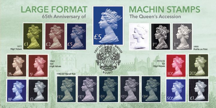 65th Anniversary of Queen's Accession, Large Format Machin Stamps