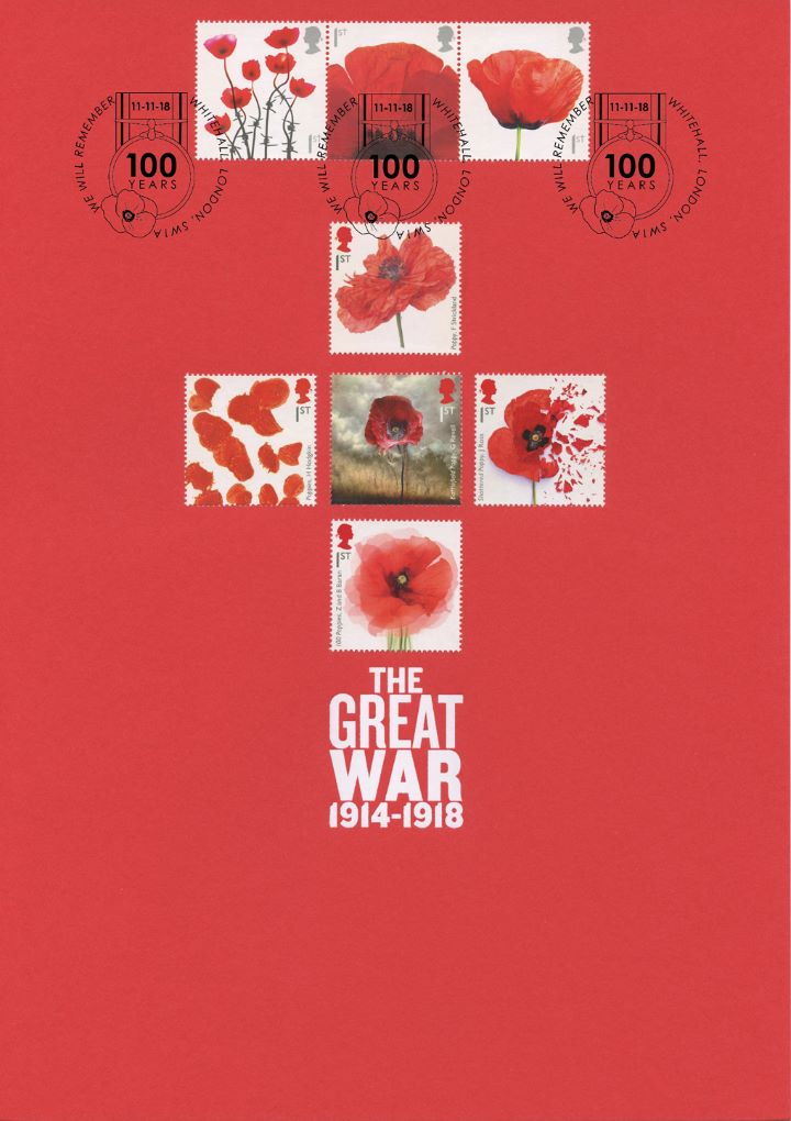 Armistice Poppies Card 03, The Eight Poppy Stamps